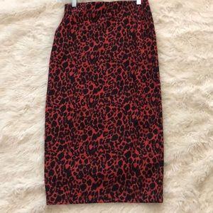 Pencil cheetah skirt